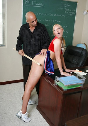 Hairless teacher uses a ruler to punish blonde cheerleader and moreover enjoys blowjob