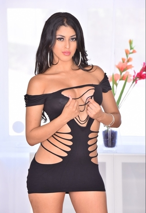 After business meeting Latina kitten loves to take off black dress and plus relax naked