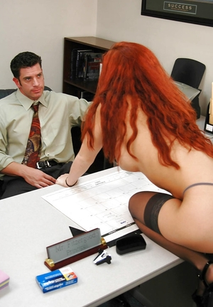 Red-haired college chick seduces handsome teacher and gives blowjob cum cannon in his cabinet