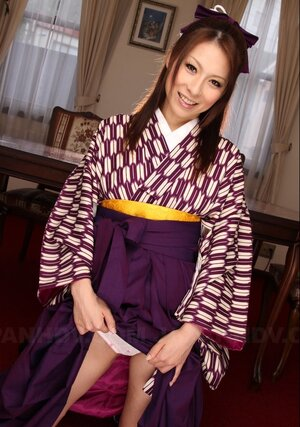 Modest angel from Japan flashes sexy panties hidden under her kimono