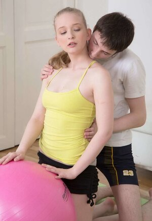 Young-looking blonde babe seduced and additionally fucked by yoga instructor on fitball and additionally mat