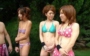 Japanese studs finger and besides sextoy cunts of pretty girlfriends during garden party