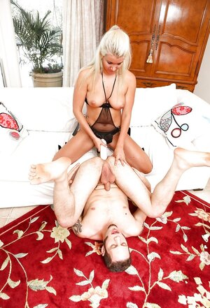After hard pegging, blonde bitch with strapon and plus her lover change roles