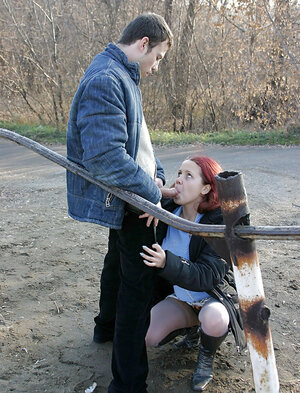 Red-haired whore in nylons and additionally jacket blows off dick and additionally fucks on a cold day outdoors