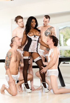 White men are ready to adore black slut who is open for double ripping