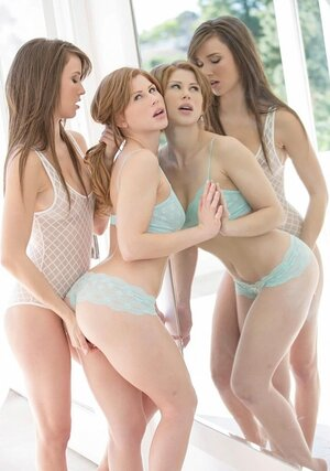 Redhead and additionally her underweight female friend admire each separate other's asshole while fucking