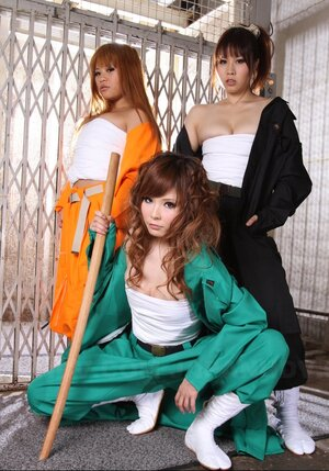 Three bratty Japanese babes provocatively pose being ready to humiliate guy